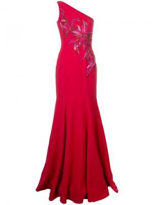 One shoulder long dress Marchesa Notte. Цвет: красный