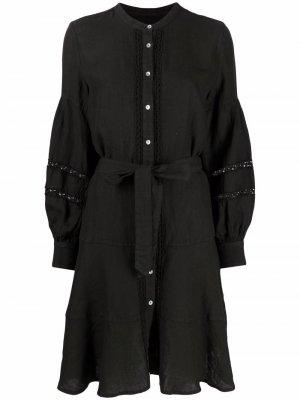 Платье-рубашка с защипами 120% Lino. Цвет: черный