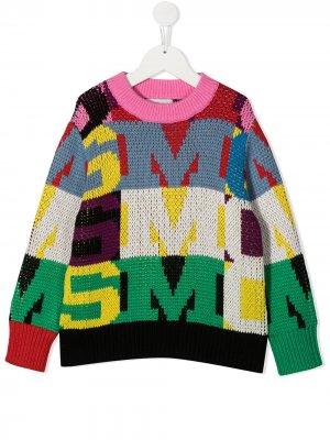 Джемпер в стиле колор-блок с круглым вырезом Stella McCartney Kids. Цвет: розовый
