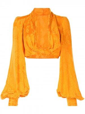 Укороченная блузка с глубоким вырезом The Attico. Цвет: оранжевый