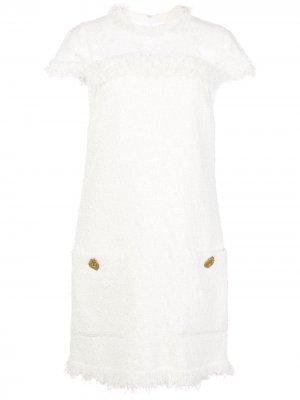 Твидовое платье-трапеция мини Oscar de la Renta. Цвет: белый