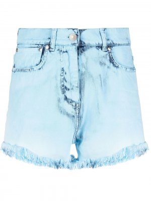 Джинсовые шорты с эффектом потертости MSGM. Цвет: синий