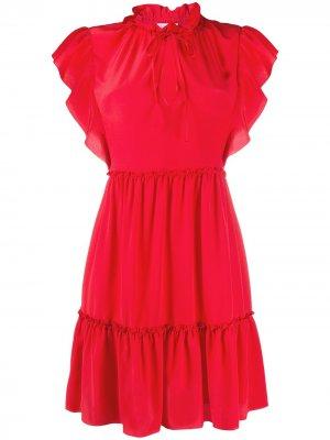 Платье мини с оборками на рукавах RED Valentino. Цвет: красный