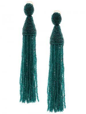 Висячие серьги с бусинами Oscar de la Renta. Цвет: зеленый