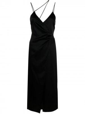 Коктейльное платье Apron с запахом Ssheena. Цвет: черный
