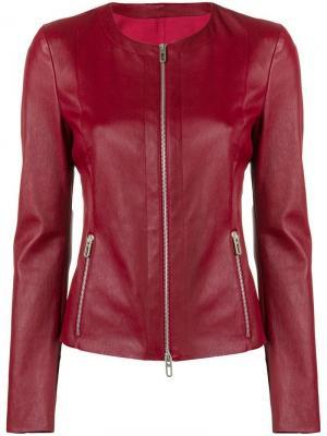 Кожаная укороченная куртка Drome. Цвет: красный