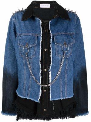 Джинсовая куртка с цепочным декором Faith Connexion. Цвет: синий