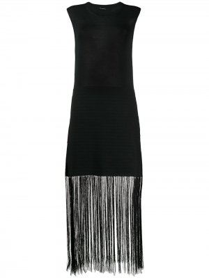 Платье Darya Crispy с бахромой Joseph. Цвет: черный