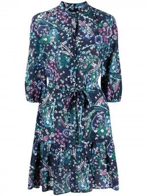 Платье мини с цветочным принтом Saloni. Цвет: синий