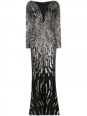 Вечернее платье с пайетками Zuhair Murad. Цвет: черный