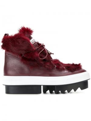 Ботинки со шнуровкой на платформе Albano. Цвет: красный