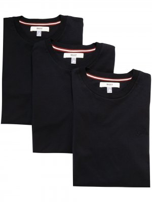 Комплект из трех футболок с вышитым логотипом Bally. Цвет: синий