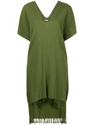 Платье-пончо с бахромой Caravana. Цвет: зеленый
