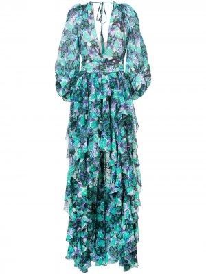 Длинное асимметричное платье Emanuel Ungaro. Цвет: зеленый