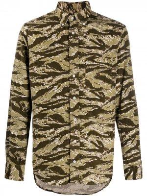 Рубашка на пуговицах с камуфляжным принтом Gitman Vintage. Цвет: зеленый