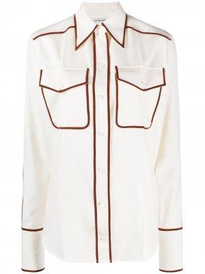 Рубашка с контрастной отделкой Victoria Beckham. Цвет: белый