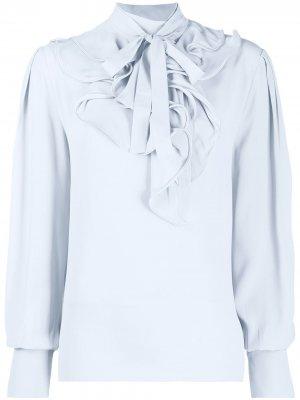 Блузка с бантом и оборками Alberta Ferretti. Цвет: серый