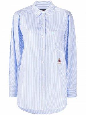 Полосатая рубашка с вышитым логотипом Tommy Hilfiger. Цвет: синий