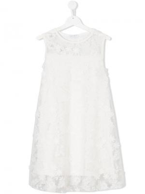 Платье с аппликацией в форме цветов Elsy. Цвет: белый
