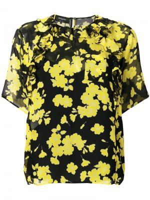 Блузка с цветочным рисунком Rochas. Цвет: желтый