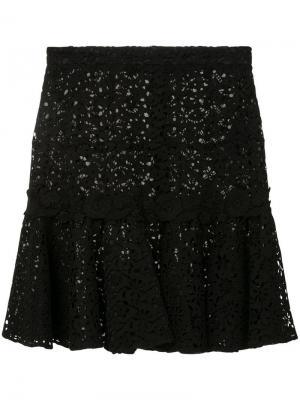 Ажурная мини-юбка с оборчатым подолом Giambattista Valli. Цвет: черный