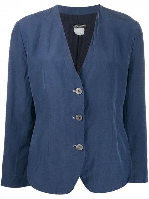 Однобортный пиджак 1990-х годов Giorgio Armani Pre-Owned. Цвет: синий