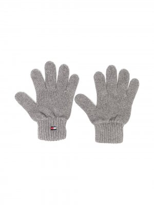 Перчатки с вышитым логотипом Tommy Hilfiger Junior. Цвет: серый