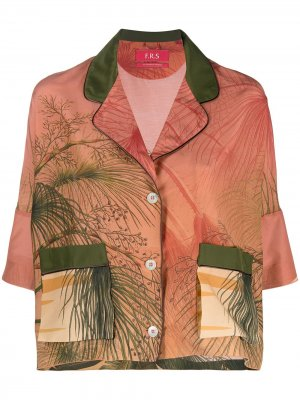 Рубашка с короткими рукавами и графичным принтом F.R.S For Restless Sleepers. Цвет: оранжевый