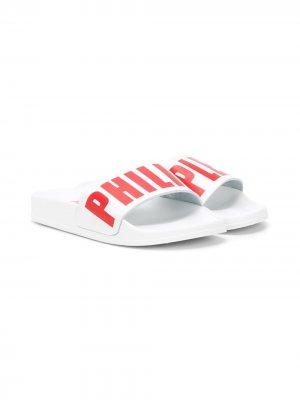 Шлепанцы с логотипом Philipp Plein. Цвет: белый