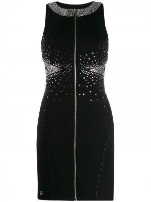 Коктейльное платье с кристаллами Philipp Plein. Цвет: черный