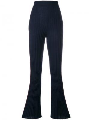 Расклешенные брюки ребристой вязки Nude. Цвет: синий