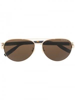 Солнцезащитные очки-авиаторы Montblanc. Цвет: коричневый