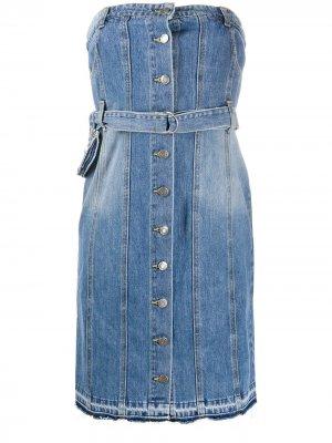 Джинсовое платье без бретелей SJYP. Цвет: синий