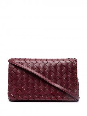 Сумка на плечо с плетением Intrecciato Bottega Veneta. Цвет: красный