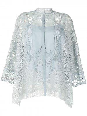 Кружевная блузка без воротника Biyan. Цвет: light голубой