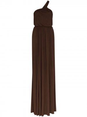 Платье макси на одно плечо Matteau. Цвет: коричневый