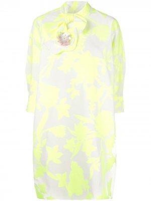 Платье с воротником на завязке Delpozo. Цвет: желтый