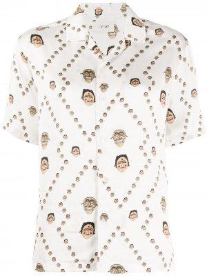 Рубашка с V-образным вырезом и принтом Kirin. Цвет: белый