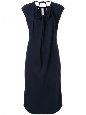 Прямое платье с присборенным на шнурок вырезом Carven. Цвет: синий