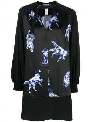 Платье с принтом собак Sport Max Code. Цвет: черный