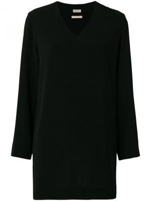 Мини платье свободного кроя с длинными рукавами Hermès Vintage. Цвет: черный