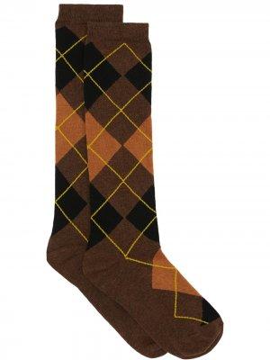Носки с узором аргайл и вышитой монограммой Burberry. Цвет: коричневый