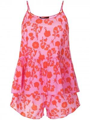 Пижама с цветочным принтом Cynthia Rowley. Цвет: розовый