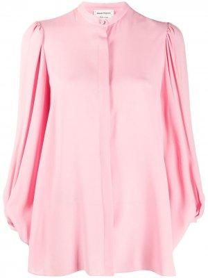 Блузка с драпировкой на рукавах Alexander McQueen. Цвет: розовый
