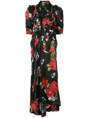 Платье с цветочным принтом и оборками Simone Rocha. Цвет: черный
