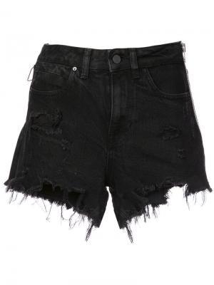 Джинсовые шорты с боковой молнией Alexander Wang. Цвет: черный