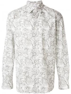 Рубашка со сплошным принтом Brioni. Цвет: серый