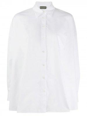 Рубашка с широким подолом Emporio Armani. Цвет: белый