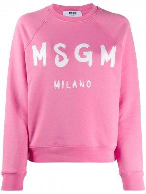 Толстовка с логотипом MSGM. Цвет: розовый