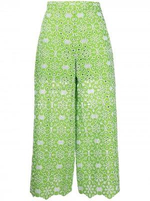 Укороченные брюки широкого кроя с вышивкой Vivetta. Цвет: зеленый